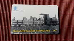 Phonecard Falkland Island Train Nice Chip Phonecard 2 Scans Used Rare - Falkland Islands