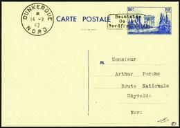 2787 Entier 80c Arc De Triomphe Surcharge Dunkerque Qualité:OBL Cote: ..... - Guerres