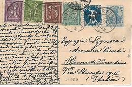 GE030 -  GERMANIA - POSTKARTE 30 + 229+144+147+141+140 CAT. UNIFICATO DA OBERSTOORF A ROVERETO (ITALIA) - 23.8.1922 - Briefe U. Dokumente