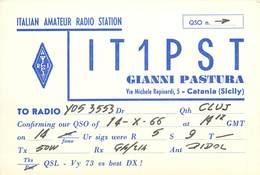 D1276 Radio Amateur QSL Card Italy Catania Sicily - Radio Amatoriale