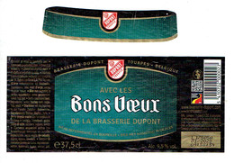 Etiquette Avec Les Bons Voeux De La Brasserie Dupont, Tourpes, Belgique (37,5 Cl) Avec Col - Beer