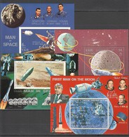 O531 !!! IMPERFORATE, PERFORATE YEMEN SPACE APOLLO 8 10 11 4BL MNH - Space