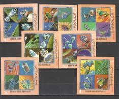 O534 !!! IMPERFORATE YEMEN SPACE MOON EXPLORATION 1SET MNH - Space