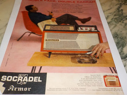 ANCIENNE AFFICHE  PUBLICITE TRANSISTOR RADIO SOCRADEL ARMOR 1959 - Other