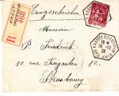 Env Reco Affr Y&T 289 Obl KRAUTERGERSHEIM Du 18.12.33 Adressée à Strasbourg - Marcophilie (Lettres)