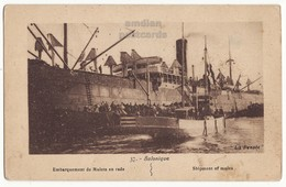 Greece Salonica, Loading Shipment Of Mules In The Harbor 1910s Vintage Thessaloniki Salonique Postcard - Greece