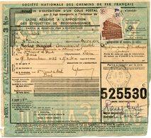 FRANCE BULLETIN D'EXPEDITION D'UN COLIS POSTAL AVEC OBLITERATION SAINTE-CROIX 17-11-43 AVEYRON - Cartas