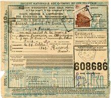 FRANCE BULLETIN D'EXPEDITION D'UN COLIS POSTAL AVEC OBLITERATION SAINTE-CROIX 20-10-43 AVEYRON - Cartas