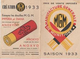 Publicité MGM 1933 Illustrée Manufacture Generale Munitions Tir Et Chasse Imperia & Diana Bourg Les Valence 26 - Advertising