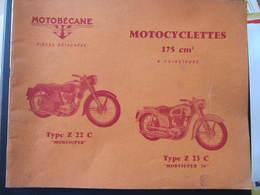 REVUE - MOTOBECANE - PIECES DETACHEES - MOTOCYCLETTES 175 CM3 - TYPE Z 22 C - TYPE Z 23 C - Moto
