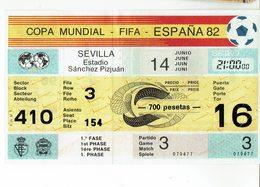 Old Football Ticket World Championship España 82 - Spain 1982 - Match Brasil - Rusia - Tickets - Vouchers