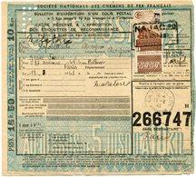 FRANCE BULLETIN D'EXPEDITION D'UN COLIS POSTAL AVEC OBLITERATION LA FOUILLADE 18-8-43 AVEYRON - Cartas
