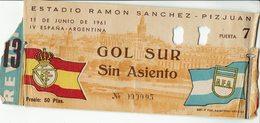 Old Football Ticket Spain - Argentina 1961 - Tickets - Vouchers
