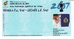 Football Ticket Sevilla - Getafe , Final King Cup 2007 - Tickets - Vouchers