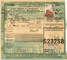 FRANCE BULLETIN D'EXPEDITION D'UN COLIS POSTAL AVEC OBLITERATION VAUREILLES 18-8-43 AVEYRON - Cartas