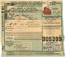 FRANCE BULLETIN D'EXPEDITION D'UN COLIS POSTAL AVEC OBLITERATION VAUREILLES 16-9-43 AVEYRON - Cartas