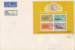 Ghana FDC 1-7-1964 Minisheet 4th Anniversary Of The Republic (big Size Cover) - Ghana (1957-...)