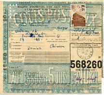 FRANCE BULLETIN D'EXPEDITION D'UN COLIS POSTAL AVEC OBLITERATION SANVENSA 14-9-43 AVEYRON - Cartas