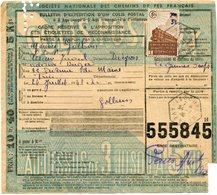 FRANCE BULLETIN D'EXPEDITION D'UN COLIS POSTAL AVEC OBLITERATION LESCURE 24-7-43 AVEYRON - Cartas