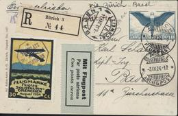 Poste Aérienne CP En Recommandée Flugmarke Flugtag Solothurn Grenchen August 1924 Mit Flugpost YT Ae 10 Aviation - Oblitérés
