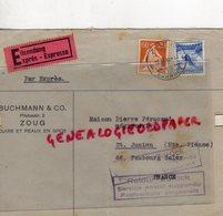 SUISSE - ZOUG -ENVELOPPE EXPRESS BUCHMANN & CO-PILATUSSTR. 2- CUIRS ET PEAUX  -PERUCAUD-SAINT JUNIEN 1940 - Switzerland