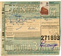 FRANCE BULLETIN D'EXPEDITION D'UN COLIS POSTAL AVEC OBLITERATION SANVENSA 31-7-43 AVEYRON - Cartas
