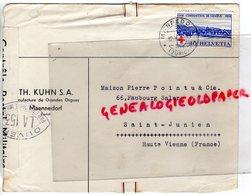 SUISSE - ZURICH- MAENNEDORF-ENVELOPPE TH. KUHN S.A.-MANUFACTURE ORGUES-PIERRE POINTU SAINT JUNIEN-GENEVE 1939 - Suisse