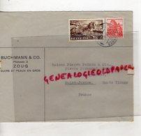 SUISSE - ZOUG- ENVELOPPE BUCHMANN & CO-CUIRS ET PEAUX-ZUG 1941-PIERRE PERUCAUD MEGISSERIE SAINT JUNIEN - Suisse