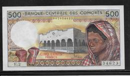 Comores - 500 Francs - Pick N°10a - NEUF - Komoren