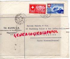 SUISSE - ZURICH- MAENNEDORF TH. KUHN- MANUFACTURE ORGUES- ENVELOPPE POINTU MEGISSERIE PEAUX- SAINT JUNIEN-1939 - Suisse