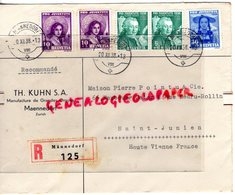 SUISSE - ZURICH- MAENNEDORF TH. KUHN- MANUFACTURE ORGUES- ENVELOPPE POINTU MEGISSERIE PEAUX- SAINT JUNIEN-1938 - Switzerland