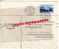SUISSE - ZURICH- MAENNEDORF TH. KUHN- MANUFACTURE ORGUES- ENVELOPPE POINTU MEGISSERIE PEAUX- SAINT JUNIEN-1938 - Suisse