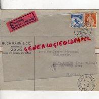 SUISSE - ZOUG- ENVELOPPE BUCHMANN & CO-CUIRS ET PEAUX-ZUG 1940-PIERRE PERUCAUD MEGISSERIE SAINT JUNIEN - Switzerland