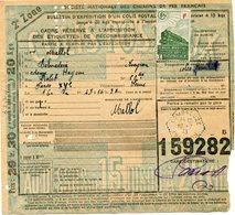 FRANCE BULLETIN D'EXPEDITION D'UN COLIS POSTAL AVEC OBLITERATION COMBROUZE 16-7-43 AVEYRON - Cartas