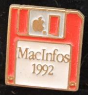 DISQUETTE ROUGE - MACINFOS 1992 - APPLE - POMME -        (ROSE) - Computers