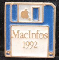 DISQUETTE BLEUE - MACINFOS 1992 - APPLE - POMME -        (ROSE) - Computers