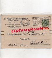 ITALIE- CARTE C. ALBERT DE BERNARDI -CUIRS ET PEAUX-CUIR-11 VIA DEGLI AMEDEI-PIERRE POINTU TANNERIE SAINT JUNIEN-1928 - Italie