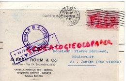 ITALIE- CARTE GENOVA-TIMBLE HITLER MUSSOLINI-1941-ALFRED ROHM-VIA XX SETTEMBRE -PIERRE PERUCAUD SAINT JUNIEN MEGISSERIE - Italia