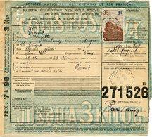 FRANCE BULLETIN D'EXPEDITION D'UN COLIS POSTAL AVEC OBLITERATION COMBROUZE 15-11-43 AVEYRON - Cartas