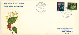 Togo FDC 15-1-1959 Flowers With Cachet And Sent To USA - Togo (1960-...)