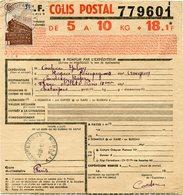 FRANCE BULLETIN D'EXPEDITION D'UN COLIS POSTAL AVEC OBLITERATION RIEUPEYROUX 18-11-43 AVEYRON - Cartas