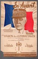 (propagande 39-45) (militaria)  Partition EN AVANT Marche De La Légion Des Combattants (Pétain En Couverture) (PPP8453) - Spartiti