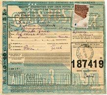 FRANCE BULLETIN D'EXPEDITION D'UN COLIS POSTAL AVEC OBLITERATION RIEUPEYROUX 13-4-43 AVEYRON - Cartas