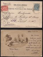 TEHERAN - PERSE - IRAN / 1902 VRAIE CARTE PHOTO RECOMMANDEE POUR LA FRANCE  (ref 3907) - Iran