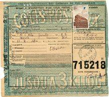 FRANCE BULLETIN D'EXPEDITION D'UN COLIS POSTAL AVEC OBLITERATION RIEUPEYROUX 21-4-43 AVEYRON - Cartas