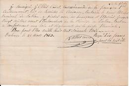 1863 - ANDANCE (07) L.A.S J.OLLIET Cadet - Autorisation à PÊCHER Avec Des Hameçons Et L'Epervier Jusqu'à 20 M - Documents Historiques
