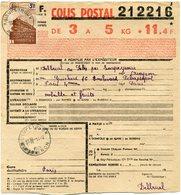 FRANCE BULLETIN D'EXPEDITION D'UN COLIS POSTAL AVEC OBLITERATION RIEUPEYROUX 14-12-43 AVEYRON - Cartas