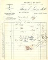 FACTURE 1931 MARCEL LANCELOT VIERZON CHER RIZ LE GAULOIS CAFÉ SPIRITUEUX VINS FINS SIROPS - Alimentaire