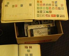 MISCELLANEOUS ACCUMULATION In Carton Incl. GB Decimal UM (face £85+), Senator Album Of France, Old Improved Album Contai - Francobolli