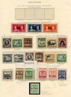 COOK ISLANDS 1937 Coronation UM, 1938 & 1944 Sets (toned Gum/disturbance), 1943-54 2/6d To £1 Arms Wmk Upright, £5 Wmk I - Non Classés